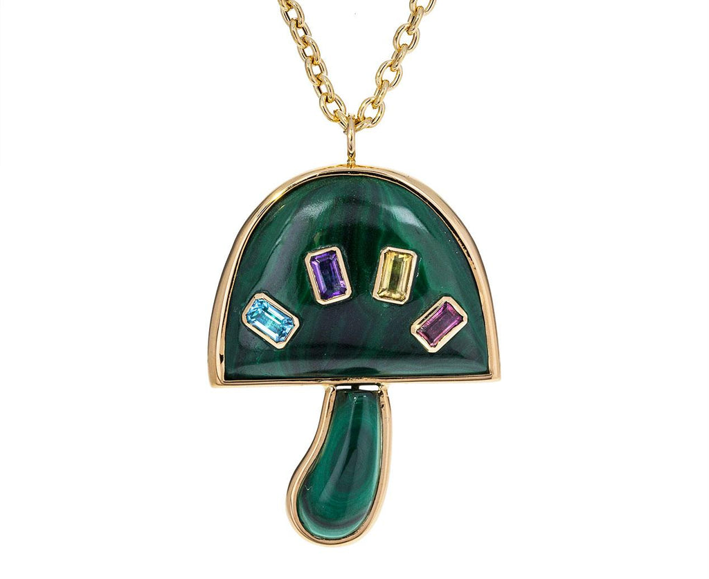 Large Malachite and Multi-Gem Mushroom Necklace zoom 1_brent_neale_gold_malachite_mushroom_necklace