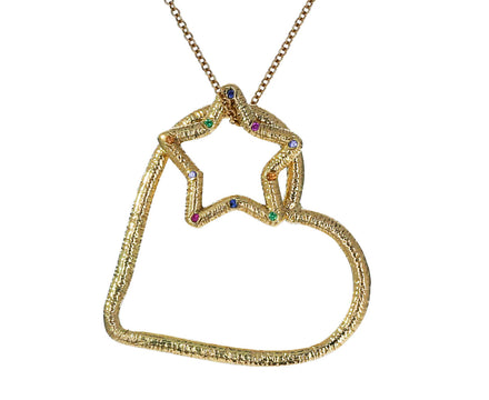 Textured Heart and Star Pendant Necklace - TWISTonline