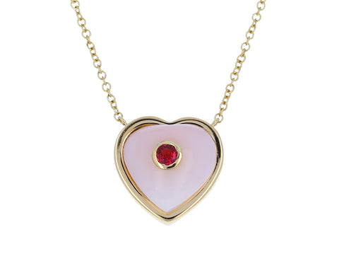 Small Rose Quartz and Ruby Puffy Heart Necklace