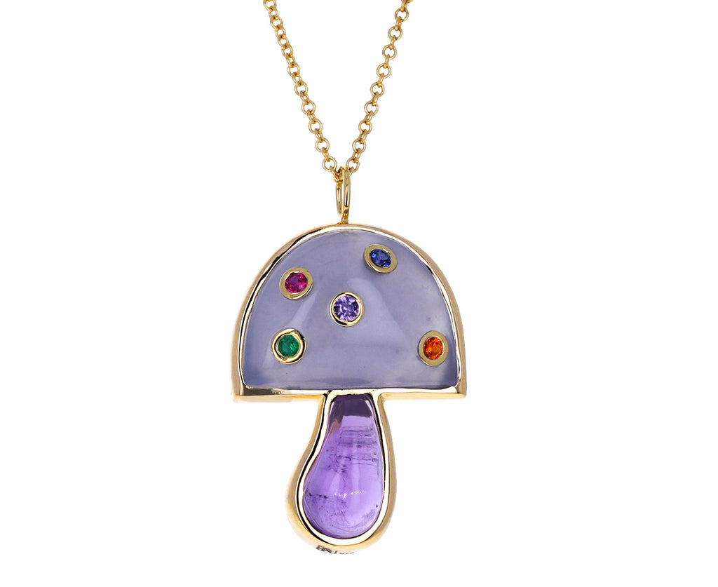 Blue Chalcedony Amethyst Mini Mushroom Necklace