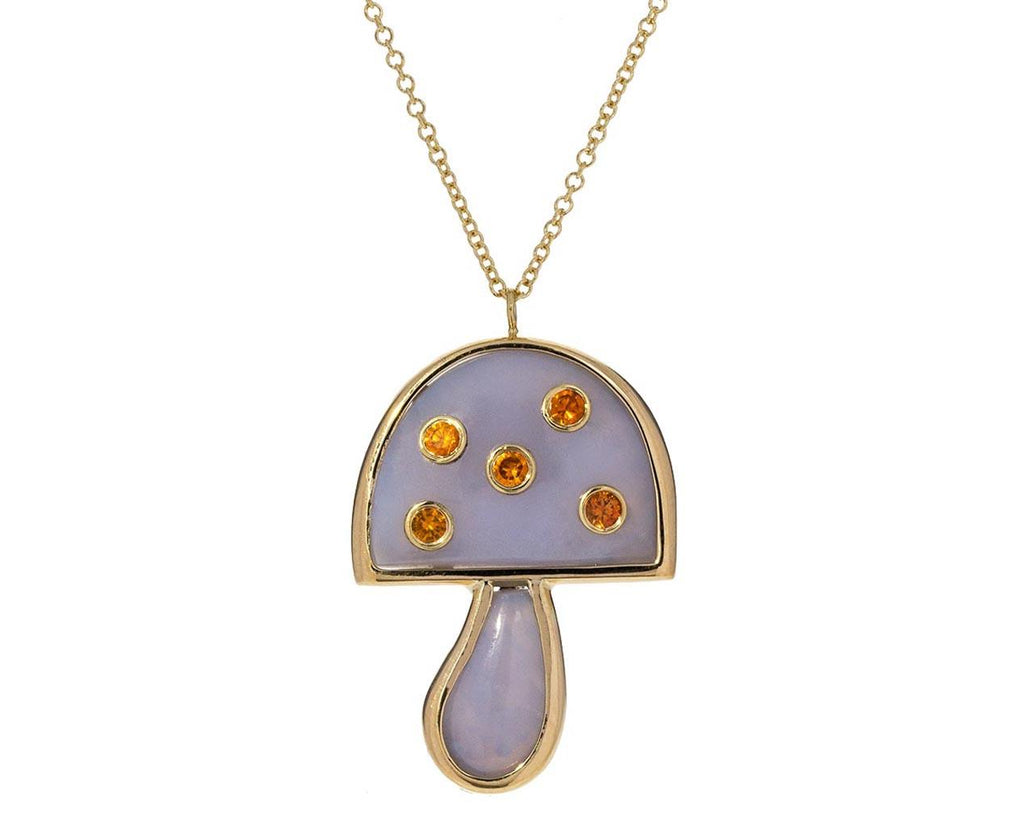 Blue Chalcedony and Orange Sapphire Small Mushroom Necklace - TWISTonline