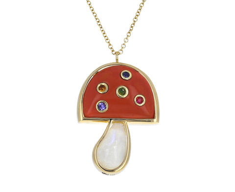 Moonstone, Coral and Multi Gem Small Mushroom Necklace