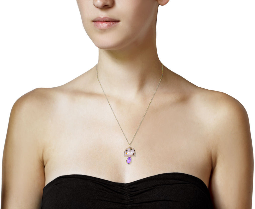 Amethyst and Pink Opal Mini Mushroom Necklace