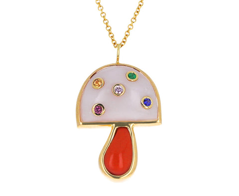 Pink Opal and Coral Mini Mushroom Necklace