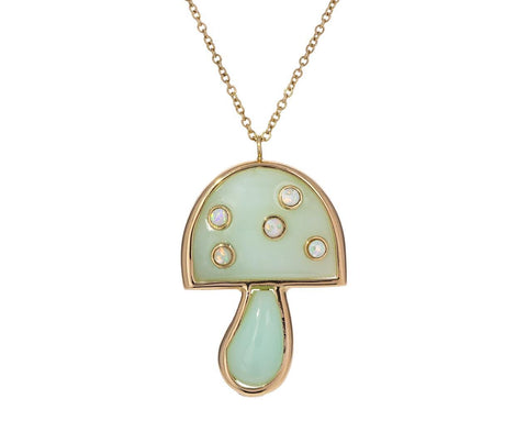 Peruvian Opal and Opal Small Mushroom Necklace - TWISTonline