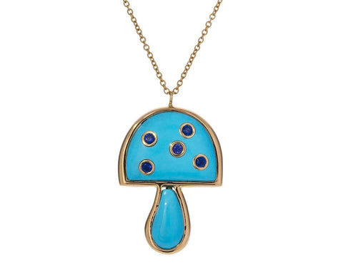 Turquoise and Sapphire Small Mushroom Necklace  zoom 1_brent_neale_tuquoise_sapphire_mushroom_necklace