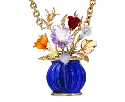 Large Lapis Flower Vase Necklace