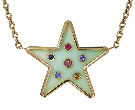 Opal and Sapphire Star Pendant Necklace
