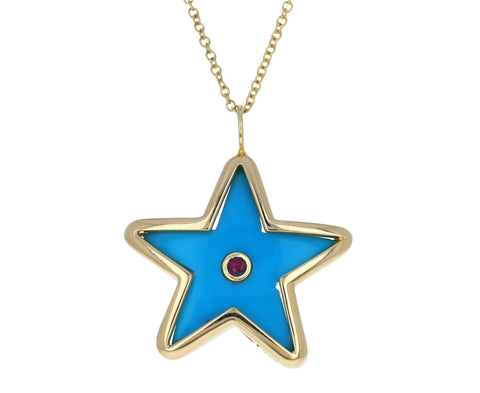 Pink Sapphire and Turquoise Star Pendant Necklace