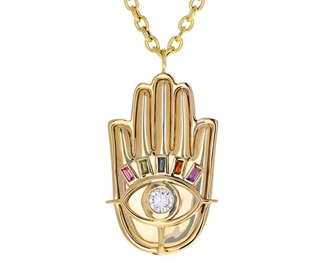 Diamond and Multi Gem Hamsa Pendant Necklace