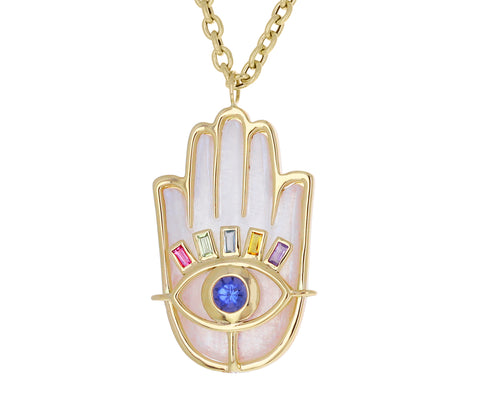 Rainbow Moonstone and Sapphire Hamsa Pendant Necklace