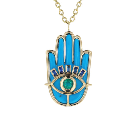 Turquoise, Emerald and Sapphire Hamsa Necklace