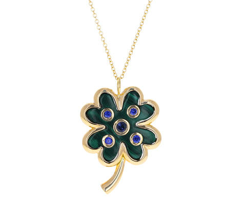 Malachite and Blue Sapphire Shamrock Pendant Necklace