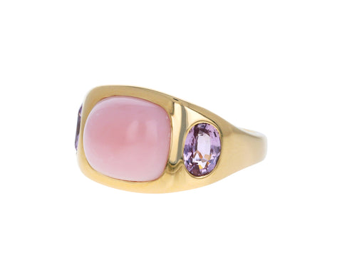 Pink Opal and Pink Sapphire Gypsy Ring