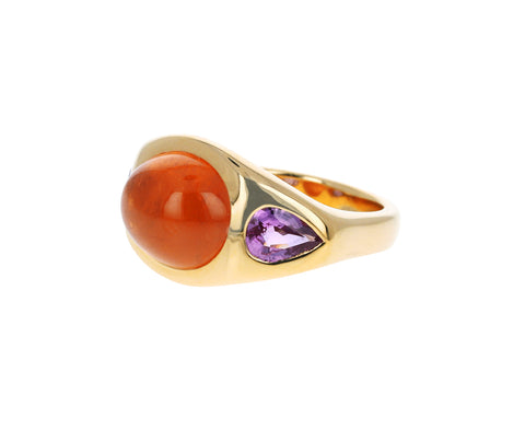 Spessartite Garnet and Pink Sapphire Gypsy Ring