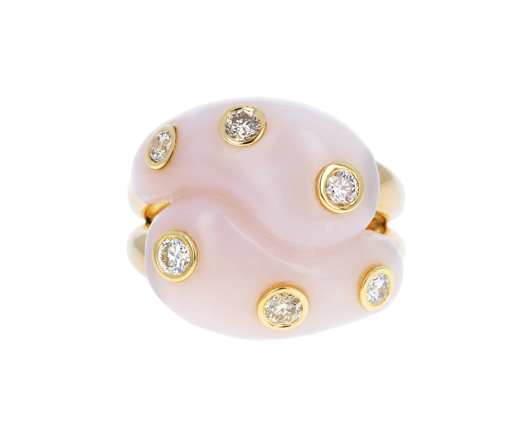 Champagne Diamond Pink Opal Knot Ring