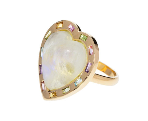 Large Rainbow Moonstone Multi-Gem Puff Heart Ring - TWISTonline