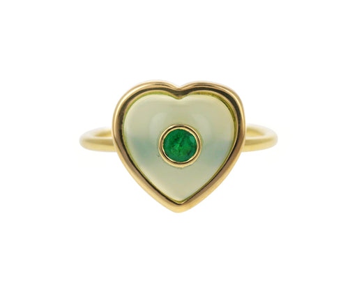 Chrysoprase and Emerald Puff Heart Ring
