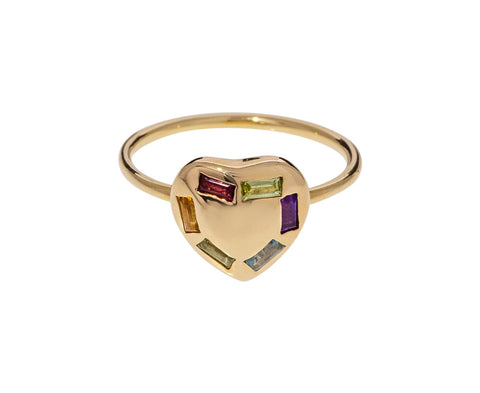 Multi-Gem Puffed Heart Ring