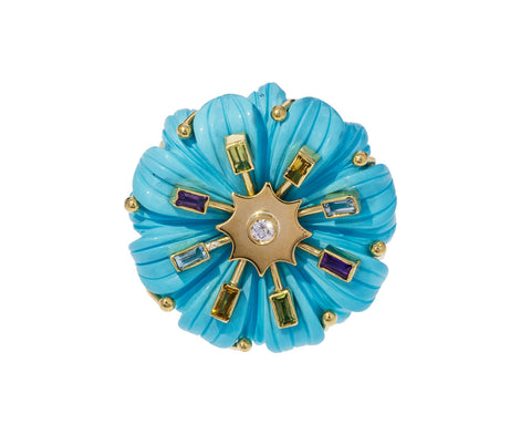 Medium Turquoise Multi Gem Flower Ring