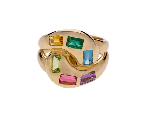 Rainbow Gem Knot Ring  zoom 1_brent_neale_gold_gemstone_knott_ring