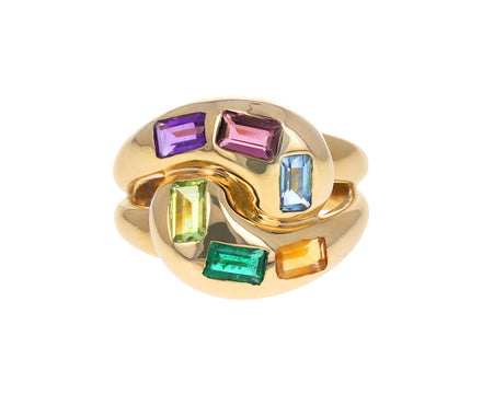 Multi Gem Knot Ring
