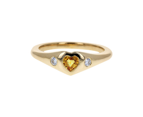 Yellow Sapphire and Diamond Mini Gypsy Heart Ring