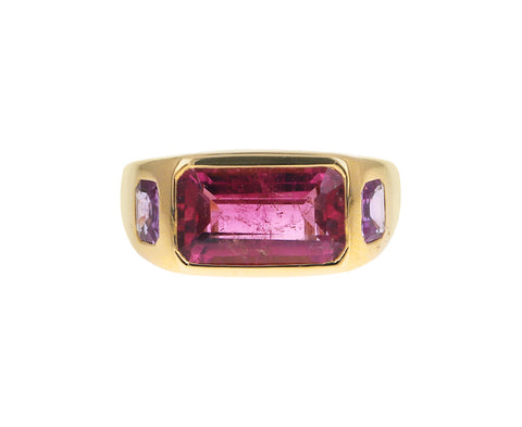 Pink Tourmaline and Pink Sapphire Gypsy Ring
