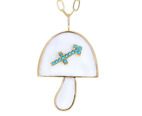 Turquoise and White Opal Sagittarius Zodiac Mushroom Necklace