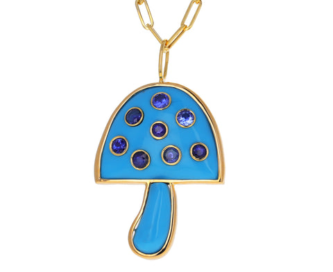Turquoise and Blue Sapphire Mushroom Necklace