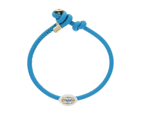 Turquoise Leather Rock Crystal White Enamel Bracelet