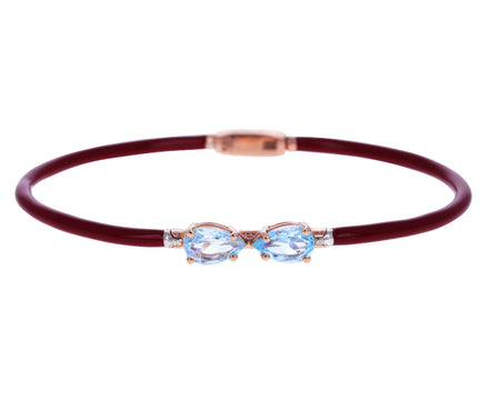 Burgundy Enamel and Blue Topaz Bracelet