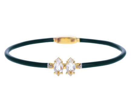 Hunter Green Enamel and Rock Crystal Bracelet