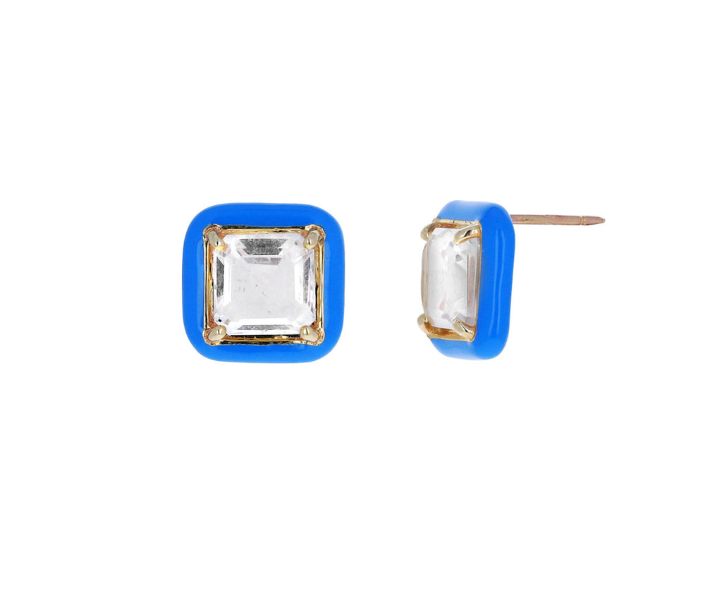 Blue Enamel and Square Cut Rock Crystal Candy Square Earrings