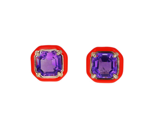 Amethyst and Orange Enamel Candy Octagon Earrings