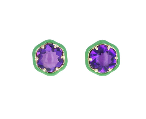 Green Enamel and Amethyst Flower Earrings