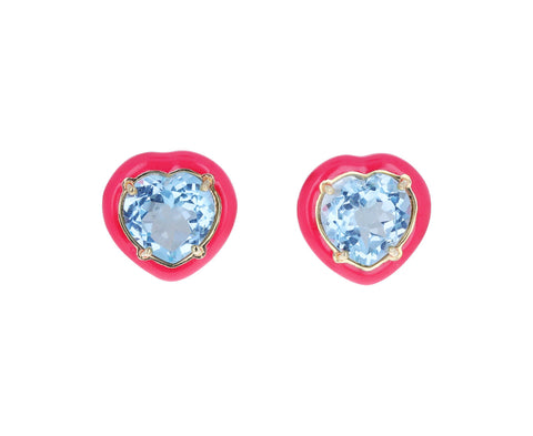 Pink Enamel and Blue Topaz Candy Heart Earrings