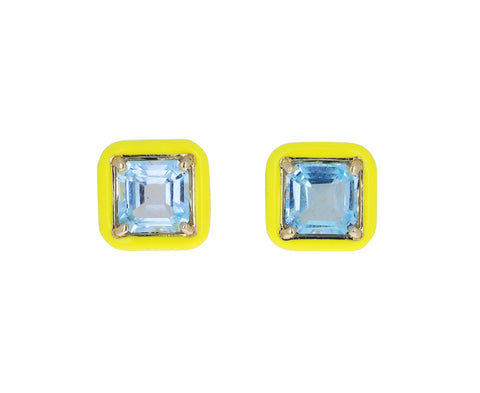 Yellow Enamel and Square Cut Blue Topaz