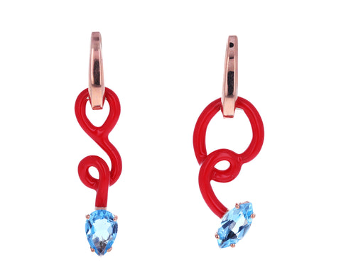 Asymmetrical Red Enamel Blue Topaz Vine Drop Hoops