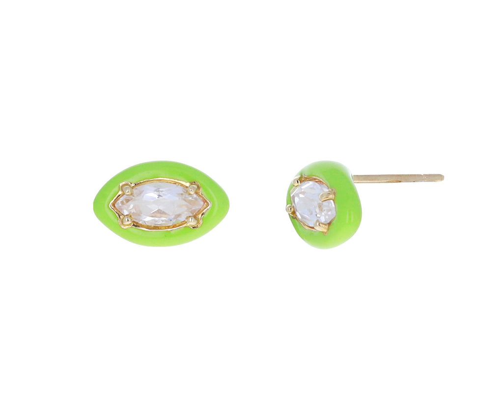 Rock Crystal and Green Enamel Sweetness Earrings