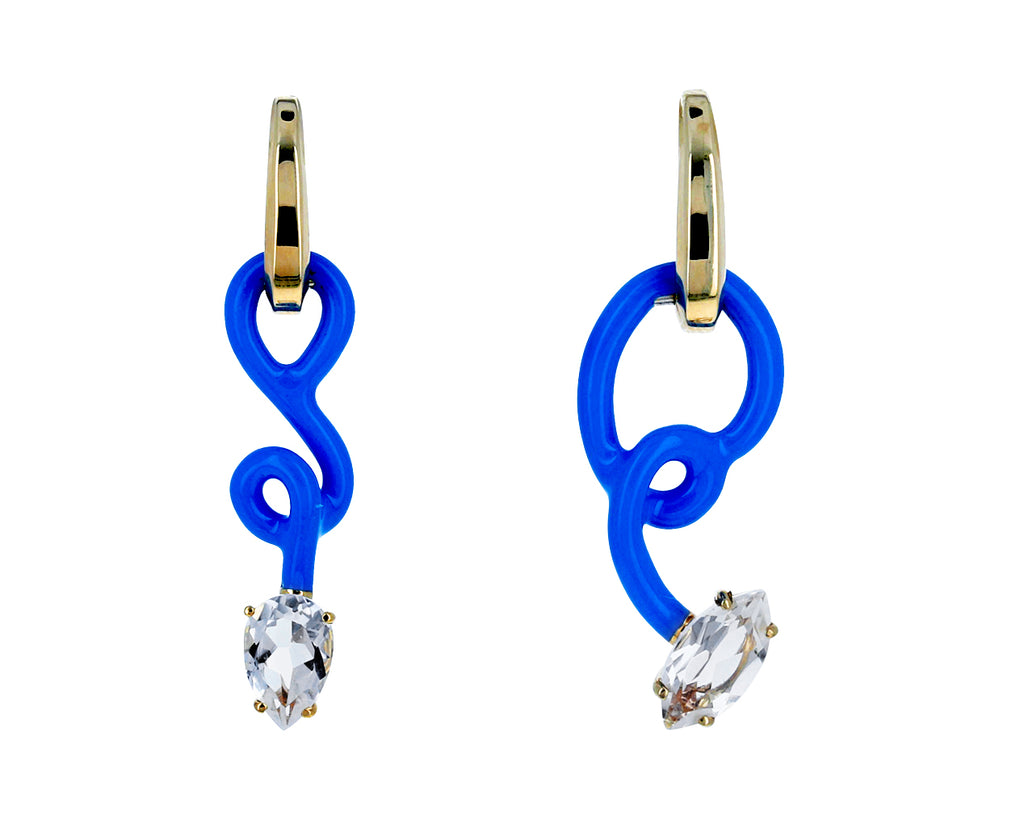 Asymmetrical Blue Enamel Rock Crystal Vine Drop Hoops - TWISTonline
