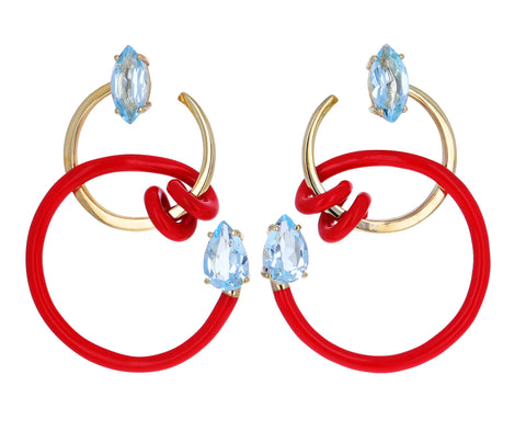 Red Enamel and Blue Topaz Curl Vine Earrings