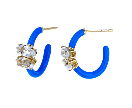 Blue Enamel and Rock Crystal Hoops - TWISTonline