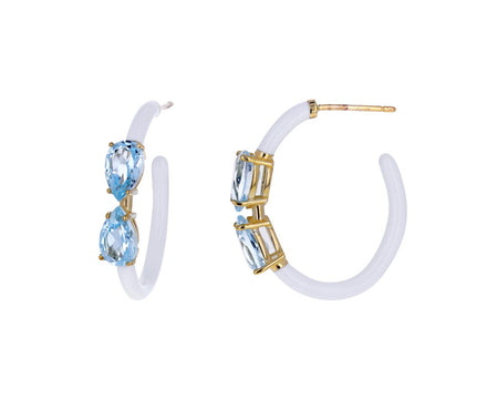 White Enamel Blue Topaz Hoops