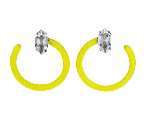 Yellow Enamel Rock Crystal Tendril Circle Earrings - TWISTonline
