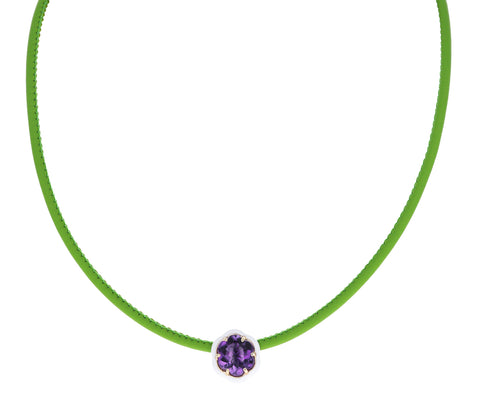 White Enamel Purple Topaz Pop Choker Necklace