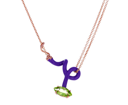 Purple Enamel Peridot Vine Pendant Necklace