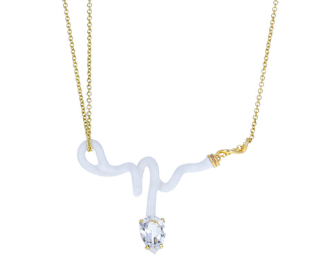 White Enamel Rock Crystal Vine Pendant Necklace - TWISTonline