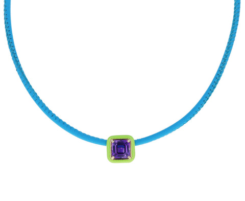 Green Enamel and Amethyst Pop Choker Necklace