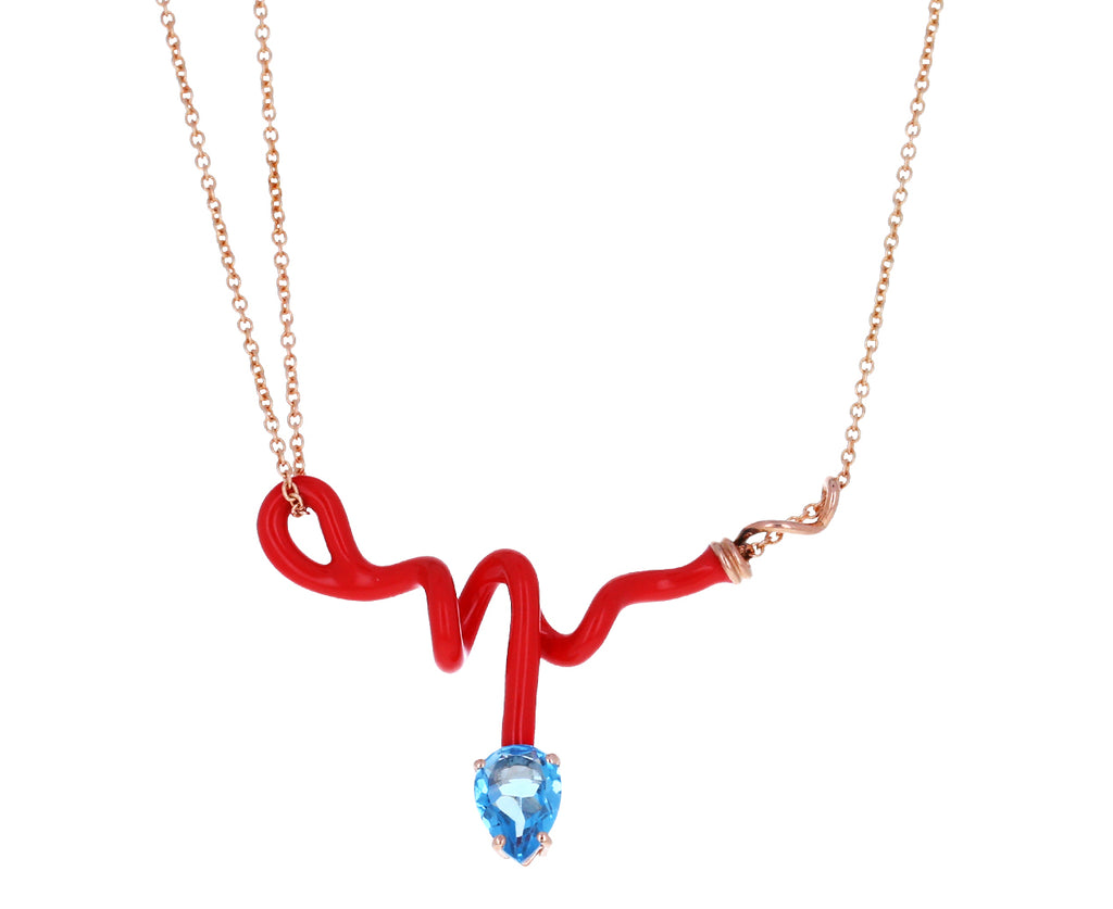Red Enamel Blue Topaz Vine Pendant Necklace